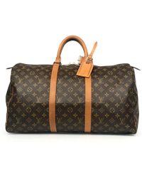 Louis Vuitton - Vintage Keepall Brown Cloth Bag - Lyst