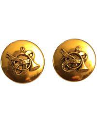 Hermès - Pre-owned Vintage Gold Metal Earrings - Lyst