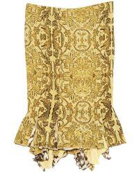 Roberto Cavalli - Khaki Silk Skirt - Lyst
