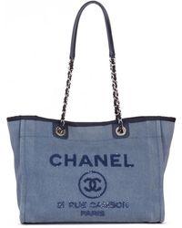 e7830fa4bff8 Chanel - Pre-owned Deauville Blue Denim - Jeans Handbags - Lyst