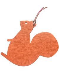 Hermès - Petit H Orange Leather Bag Charms - Lyst