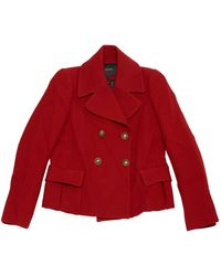 Maje - Red Wool Coats - Lyst