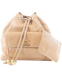 Chanel - Beige Leather Backpacks - Lyst
