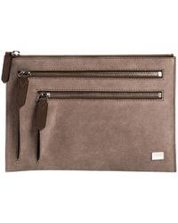 Lancel - Grey Suede Clutch Bag - Lyst