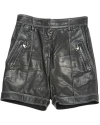 Balmain - Leather Mini Short - Lyst
