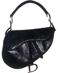 Dior - Pre-owned Vintage Saddle Black Python Handbag - Lyst