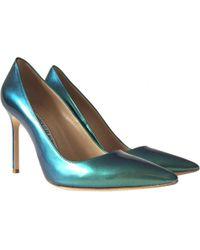 cd21a17e7378 Lyst - Manolo Blahnik Hangisi Leather Heels in Blue