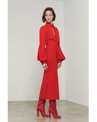 Victoria Beckham - Slash Front Long Sleeve Midi Dress - Lyst