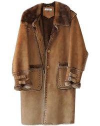 Balmain Manteau en fourrure fausse fourure beige - Neutre