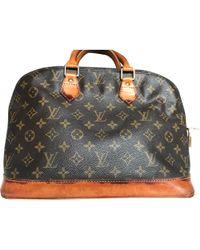 Louis Vuitton Sac à main en cuir cuir Alma marron