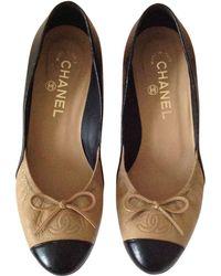 Chanel - Escarpins cuir beige - Lyst