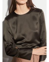 cd21df77ac0bed Vince Silk Blouse in Natural - Lyst