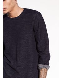 Vince - Contrast Double Knit Cotton And Wool Long Sleeve - Lyst