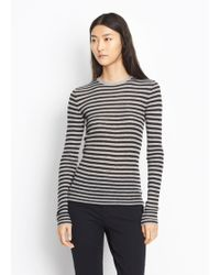 Vince - Striped Ribbed Cashmere Crew - Lyst