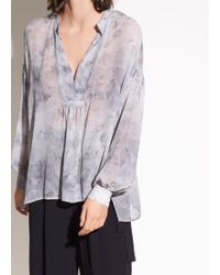 Vince - Watercolor Marble Shirred Silk-georgette Blouse - Lyst
