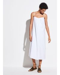 helmut lang v neck satin slip dress in blue lyst5745303 Plus Size Chambray Shirt Dress With Lace #11