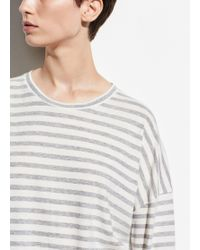 Vince - Bengal Stripe Long Sleeve Crew (off-white/heather Steel) Women's Clothing - Lyst