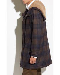 Vince - Plaid Wool Duffle Coat - Lyst