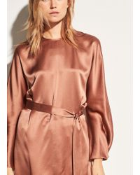 Vince - Seam Front Silk-crepe Back Satin Tunic - Lyst