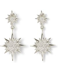 Vince Camuto - Silvertone Double-star Clip-on Earrings - Lyst