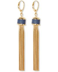 Vince Camuto - Leather-inlay Chain Tassel Earrings - Lyst