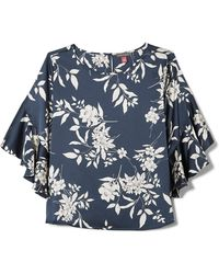 Vince Camuto - Bouquet-print Ruffle-sleeve Blouse - Lyst