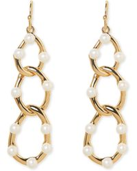 Vince Camuto - Faux Pearl-embellished Link Earrings - Lyst