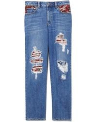 Vince Camuto - Tapestry Patchwork Distressed Wide Cropped Jeans - Lyst