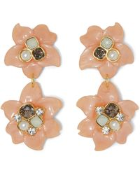 Vince Camuto - Coral Resin Double-flower Earrings - Lyst