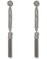 Vince Camuto - Silvertone Jeweled Tassel Earrings - Lyst