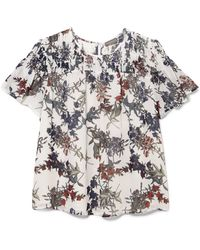 Vince Camuto - Floral-print Smocked-yoke Top - Lyst