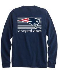 Vineyard Vines - Adult Long-sleeve New England Patriots Long-sleeve Block  Stripe T 2b00f0c2f