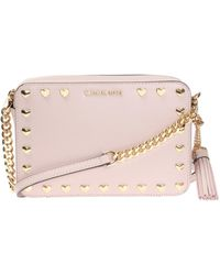 c794a3085ffd Michael Kors Ginny Soft Pink Leather Love Camera Bag in Pink - Lyst
