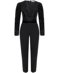 Self-Portrait - Lace-trimmed Jumpsuit - Lyst