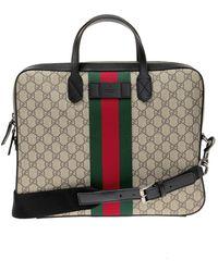 Gucci - 'GG Supreme' Canvas Briefcase - Lyst