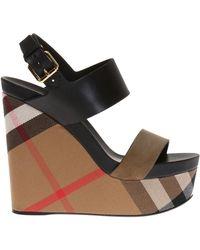 Burberry - 'nuneaton' Wedge Sandals - Lyst