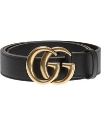 517eab0a56307b Lyst - Gucci Men's Leather Belt With Wolf Buckle in Black for Men