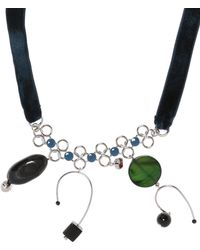 Marni - Velvet Necklace With Pendants - Lyst