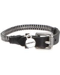 DIESEL - Zipper Leather Bracelet - Lyst