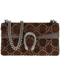 3b10fc256 Lyst - Gucci Dionysus Gg Small Velvet & Leather Shoulder Bag in Brown