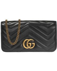 e6a703fcd Gucci Gg Marmont 2.0 Medium Suede Shoulder Bag in Black - Lyst