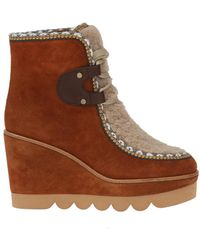 See By Chloé - Fur-trim Wedge Boots - Lyst
