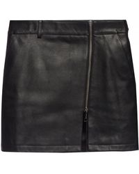 Burberry - Zip-front Leather Mini Skirt - Lyst
