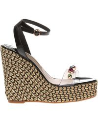 Sophia Webster - Dina Embellished Pvc And Patent-leather Espadrille Wedge Sandals - Lyst