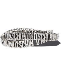 Moschino - Leather Bracelet With Decorative Logo - Lyst