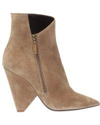 Saint Laurent - 'niki' Heeled Ankle Boots - Lyst