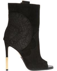 Balmain - Open Front Heeled Boots - Lyst