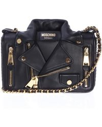 b859e9161b5 Moschino - Leather Shoulder Bag With Biker Jacket Motif - Lyst