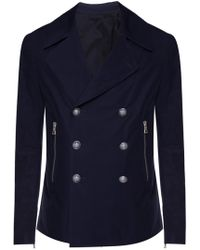 Balmain - Cropped Double-breasted Coat - Lyst