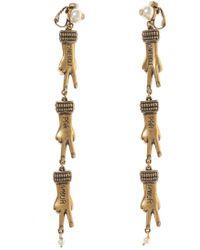 Gucci - Hand Motif Clip-on Earrings - Lyst